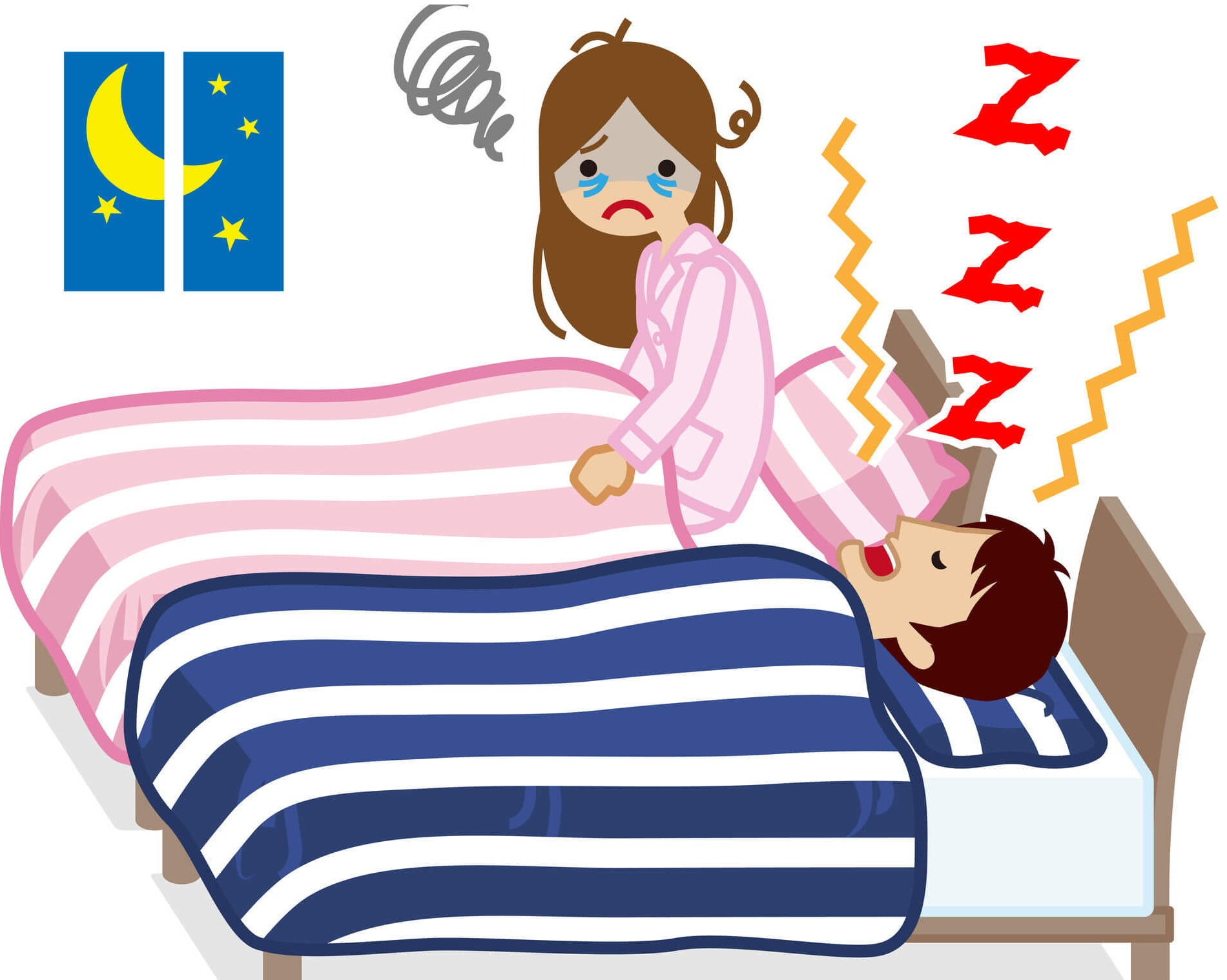 うるさいいびきに伴う睡眠時無呼吸症候群で家族が寝れない状況-横浜市港北区の大倉山耳鼻科病院のSAS-いびき外来